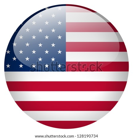 USA flag button - stock photo
