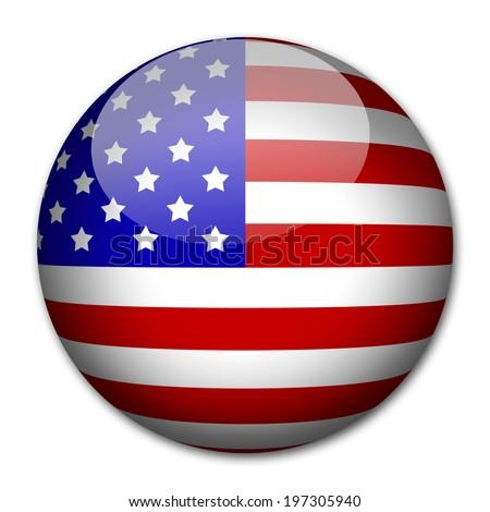 USA Flag button - stock photo
