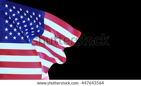 USA flag di-cut background,3D illustration