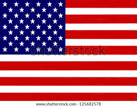 USA flag drawing by pastel on charcoal paper - stock photo