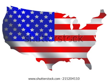 USA flag in a shape of USA borders - stock photo