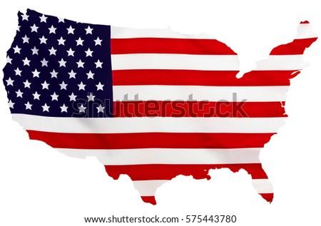 Usa Flag Form Maps United States Stock Illustration 575443789 ...