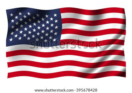 USA flag isolated on white with clipping path
