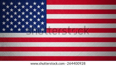 USA flag leather texture - stock photo