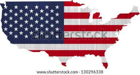 USA Flag Map on a white background - stock photo