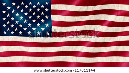 USA flag old crinkled effect illustration. - stock photo