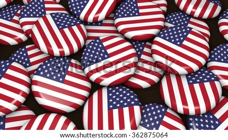 USA flag on badges background image for United States of America events, holiday and celebration.