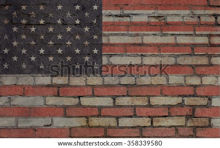 Usa flag on brick wall. Grunge