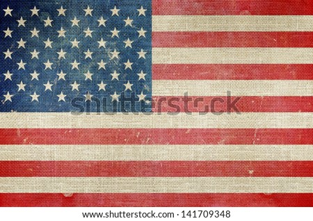 USA Flag on Canvas Background. Grungy US Map. - stock photo