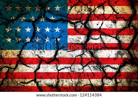 USA flag on cracked earth - stock photo