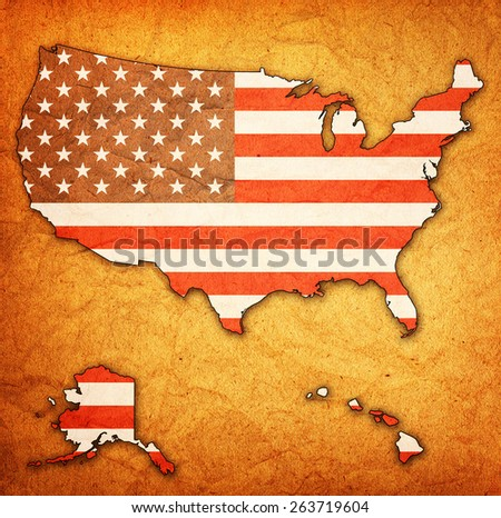 usa flag on map of united states of america with border - stock photo