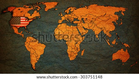usa flag on old vintage world map with national borders - stock photo