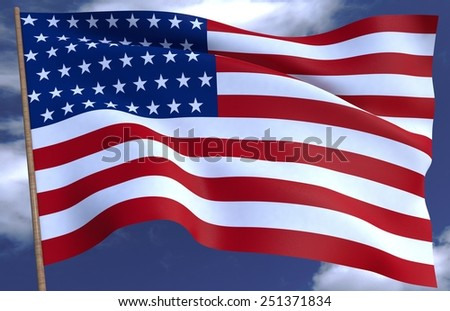 USA flag on the background of the sky 3D