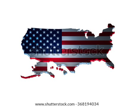 USA flag on the world map