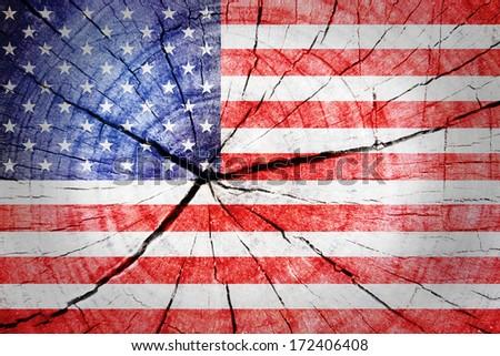 USA Flag on wood background - stock photo