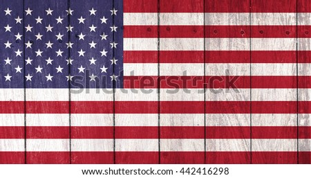 usa flag on wooden background,United States Flag flag on wood wall texture - stock photo