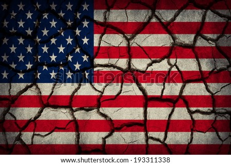 USA flag painted on cracked soil - stock photo
