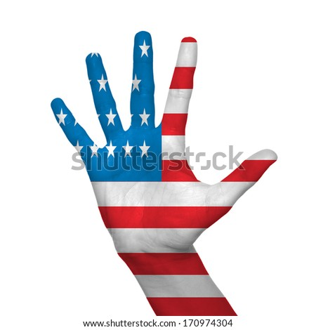 USA flag painted on hand over white background - stock photo