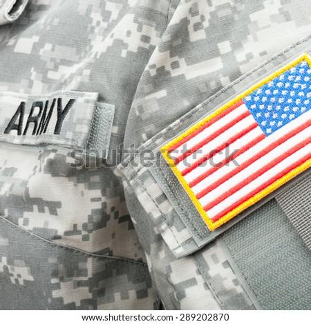 USA flag shoulder patch on military uniform - stock photo