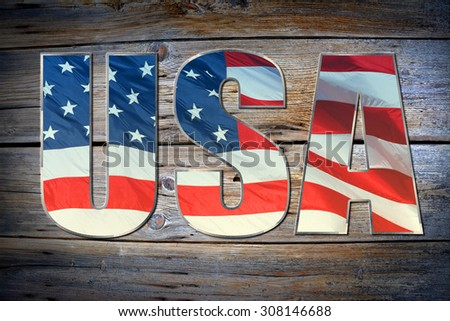 USA flag sign on old gunge wooden background texture - stock photo