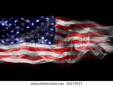 USA Flag Smoke - stock photo