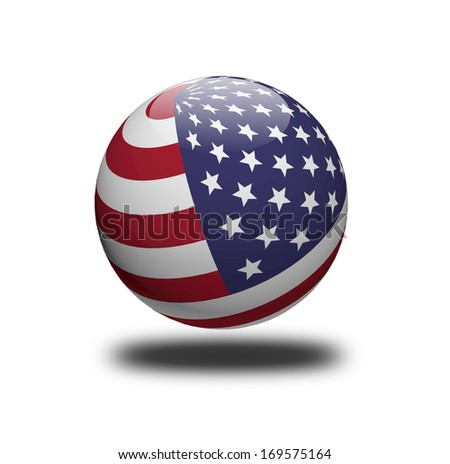 USA flag sphere isolated on white background. - stock photo