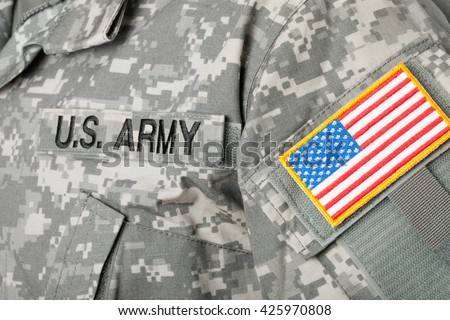 USA flag U.S. ARMY patch on military uniform - stock photo