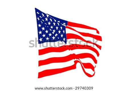 USA flag waving in the wind isolated on white
