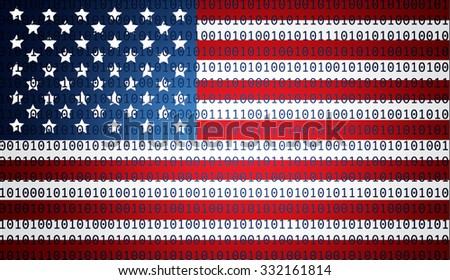 USA flag with binary text - stock photo