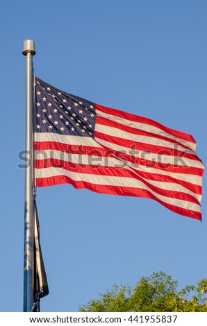 USA Flag with Blue Sky Background