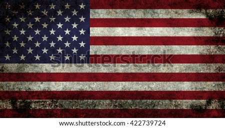 USA flag with dark gunge retro style distressed patina - stock photo