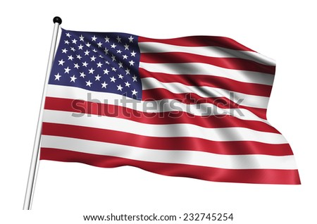 USA flag with fabric structure on white background