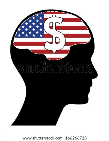 Usa flag with human head brain and white dollar sign. Raster version of brain shaped usa flag and dollar sign.  - stock photo