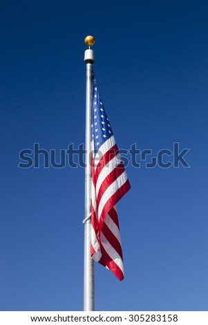 USA flag without the wind in the sky