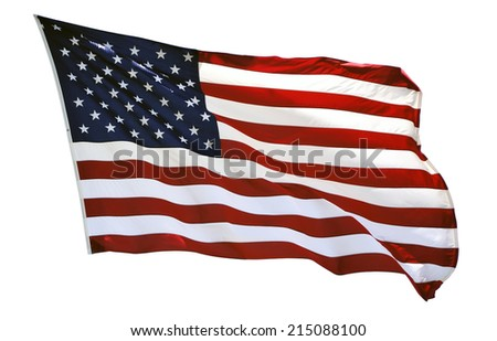 USA flapping flag on plain background - stock photo