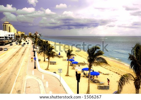 USA Florida Fort Lauderdale Beach - stock photo