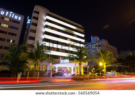 USA. FLORIDA. MIAMI BEACH, JANUARY - 19, 2017: South Beach Night. Florida. Time Lapse. Blur.