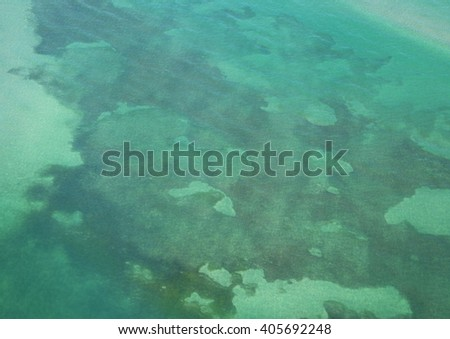 USA, Florida, Miami, Biscayne Bay turquoise water, aerial view. Copy space - stock photo