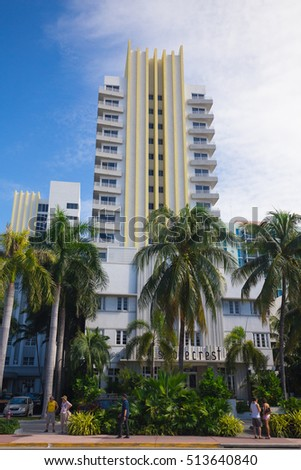 USA, FLORIDA, MIAMI: NOVEMBER 10, 2016. Renovated Shorecrest Hotel in Art Deco architectural district, one of the main tourist attractions in Miami, South Beach.