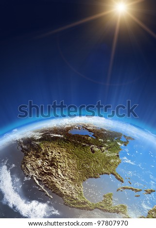 USA from space. Elements of this image furnished by NASA - stock photo