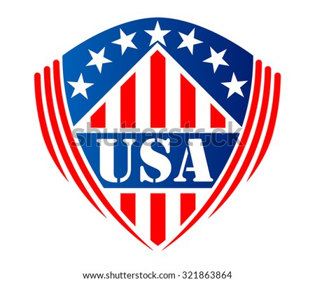Usa heraldic shield sign or symbol with stripes, stars and text  USA, for patriotic sticker or logo design