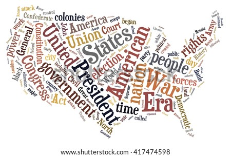 USA history in word cloud