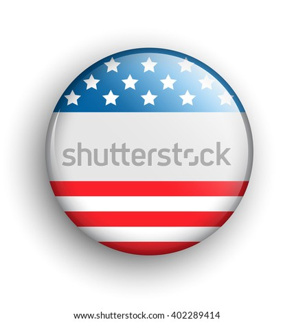 USA Icon Sign Presidents Independence Day Isolated on White Background - stock photo