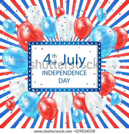 USA Independence day colored background 4th of july with card and balloons, illustration. - stock photo