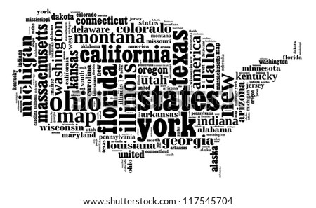 USA info-text graphic and arrangement composed in USA map concept on white background - stock photo