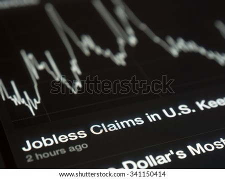 USA Jobless graph on a tablet screen - stock photo
