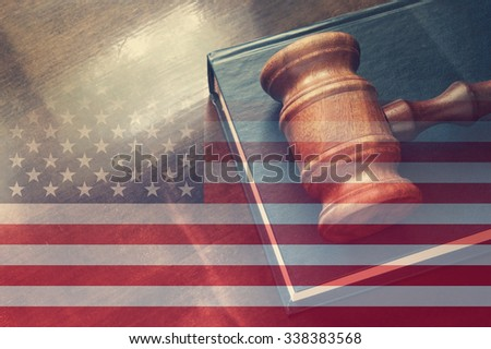 usa legal concept, judge wooden gavel and legal book with usa flag - stock photo