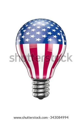 USA light bulb / 3D render of light bulb with American flag - stock photo
