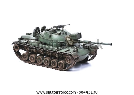 USA M48A5 tank isolated on white background - stock photo