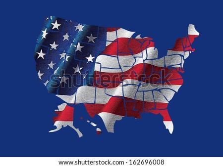 USA map and flag - stock photo